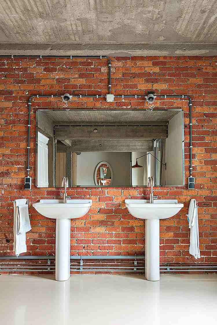 Decoracion baos con paredes de ladrillo y diseo moderno