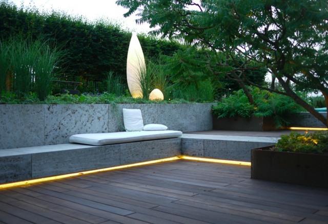 terraza bancos hormigon iluminados ideas