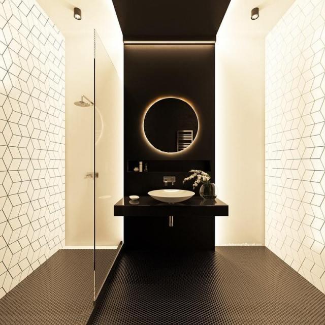 bano-diseno moderno iluminacion original blanco negro mosaico ideas