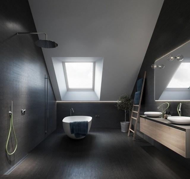 reformar bano iluminacion techo abovedado losas negras ventana