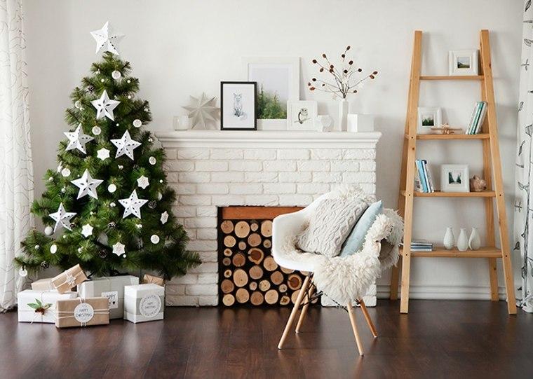 Blanca navidad con decoracin moderna y clsica