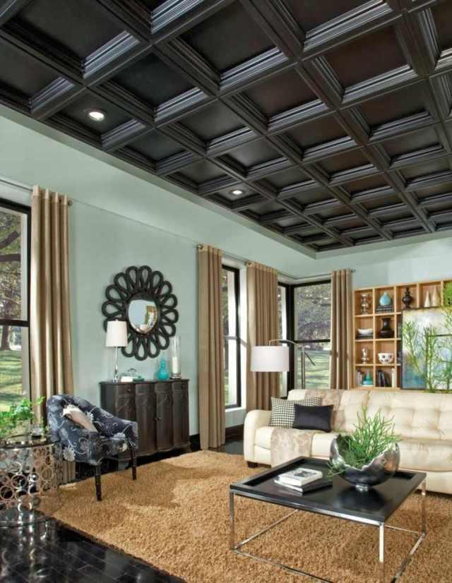 tavanı süslemek için fikirler siyah geometrik tasarım fikirleri