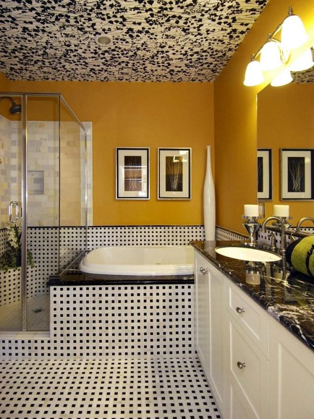 tavan dekorasyon fikirleri ilginç tasarım modern banyo