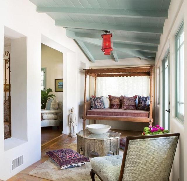 modern yeşil boyalı tavanı dekore etmek için fikirler