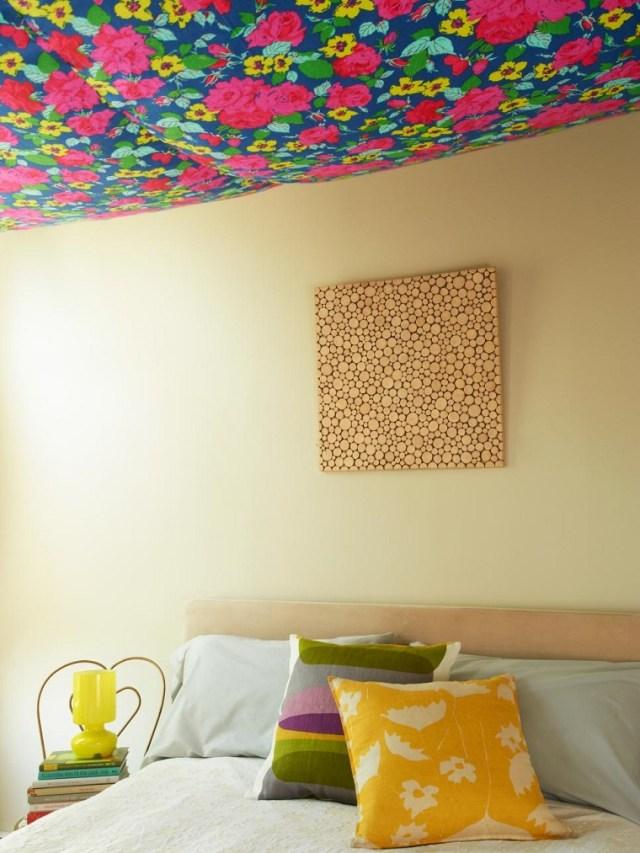 tavan dekorasyon fikirleri modern desenli kumaş