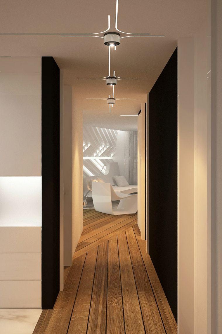 Pasillos pintados y decorados para interiores modernos