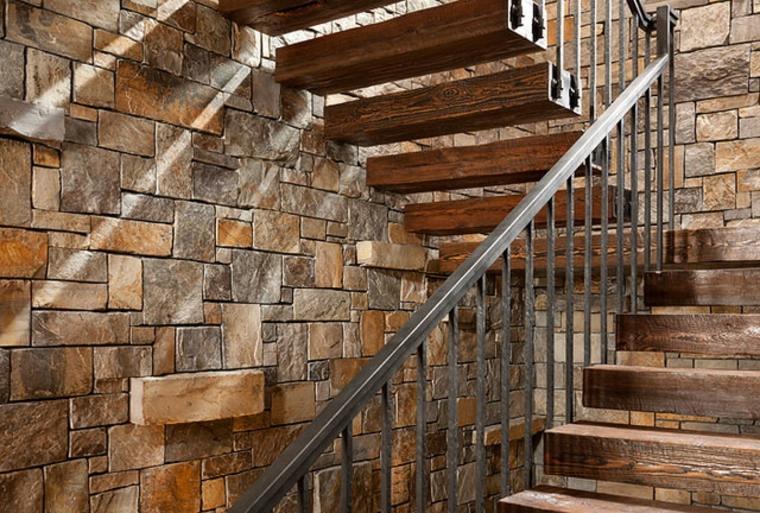 Escaleras rsticas de piedra y madera  ms de 35 diseos fantsticos