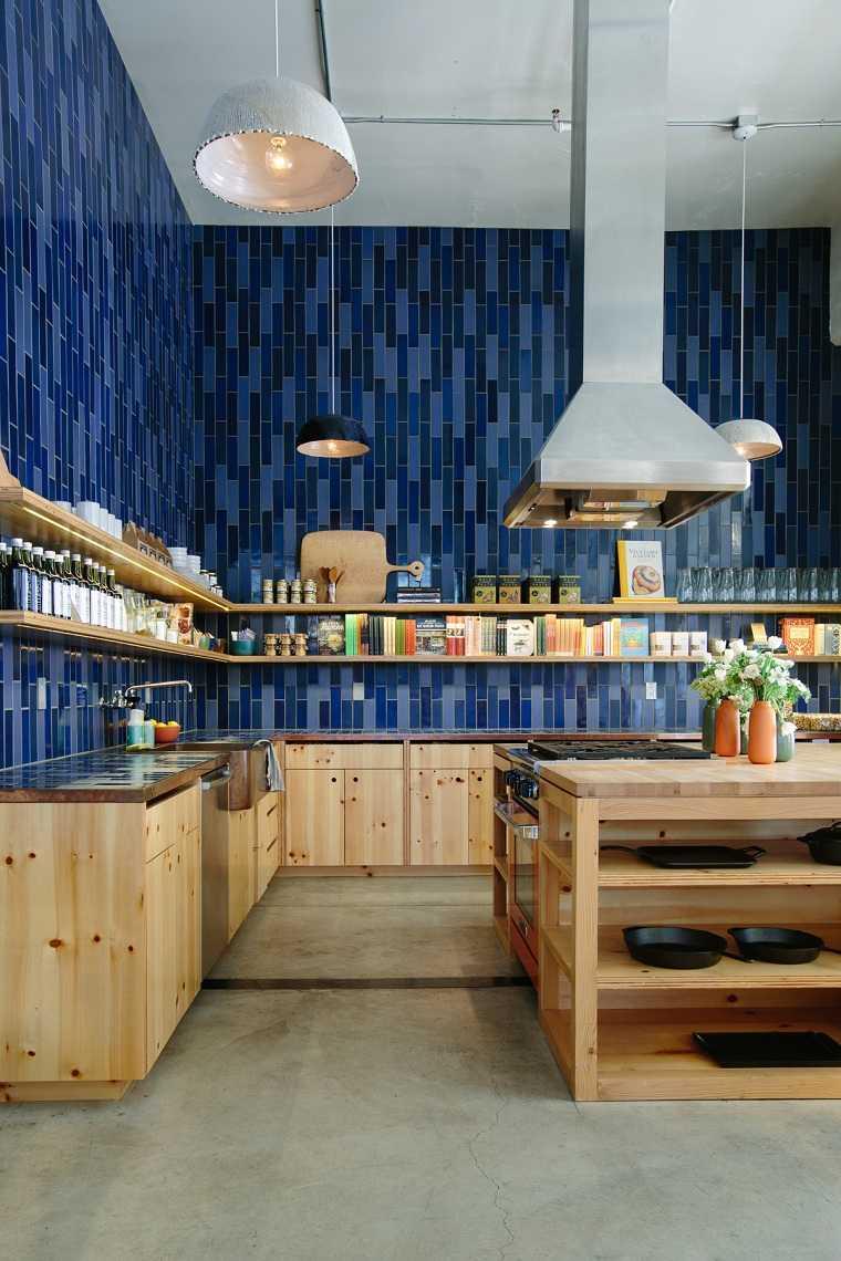 Cocina Azul Azulejos