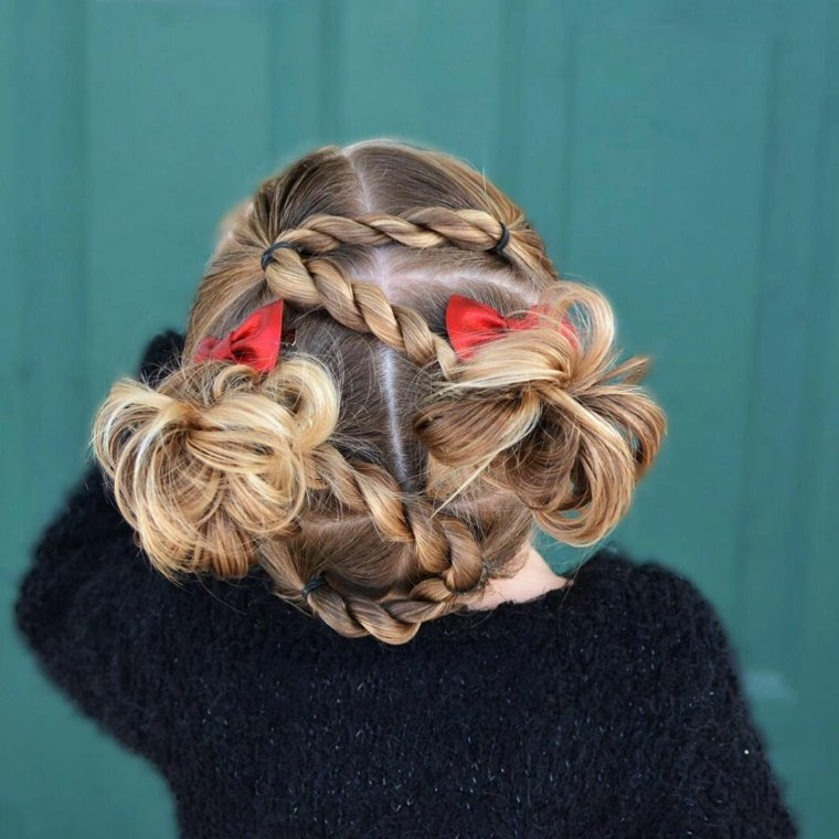 Peinados con pelo recogido modernos para nias