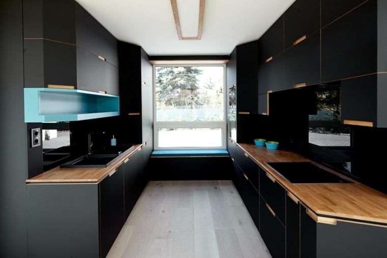 Diseos de cocinas modernas en negro con detalles de madera