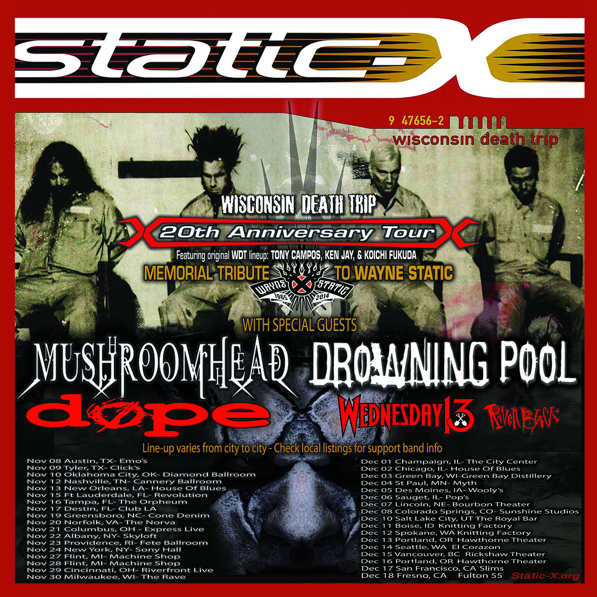 STATIC-X WDT TOUR ADMAT FALL ALL BANDS ALL DATES