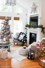 Classic Red and Plaid Christmas Living Room Decor Tour with All Through the House Christmas Tour at the happy housie-91