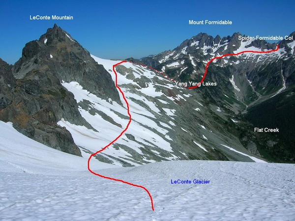 Looking back at the traverse from Spider-Formidable Col
