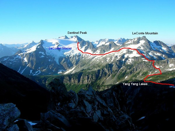 Traverse from Yang Yang Lakes to the LeConte Glaicer