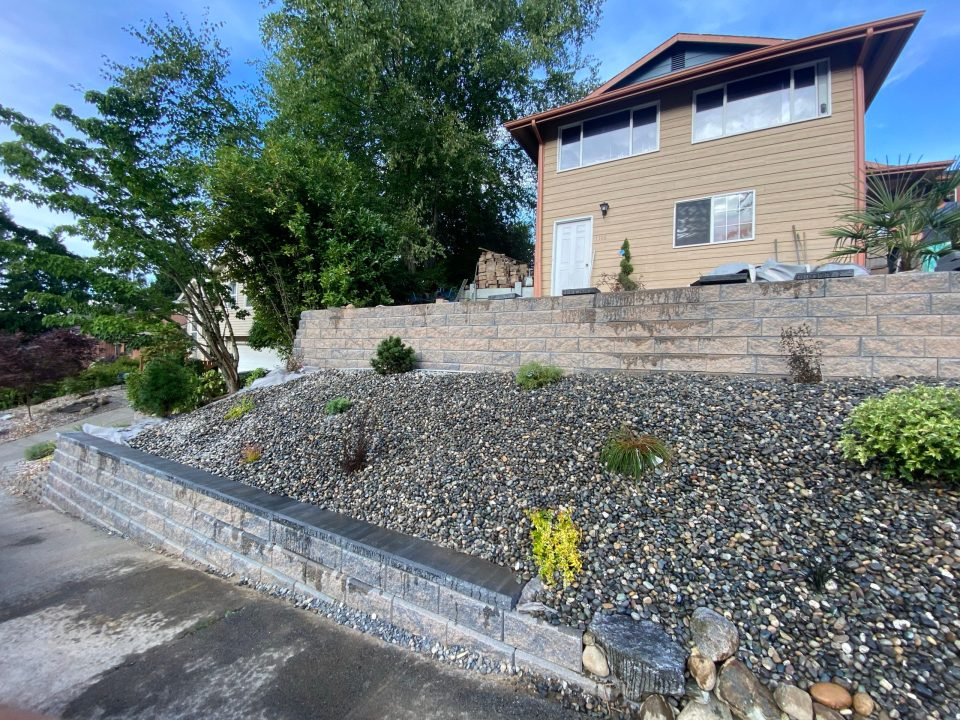 Two tiered retaining wall