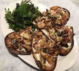 Wild Mushroom Tartine offered by Blackboard, the cute little café inside Provisions Market Hall. Mixed Wild Mushrooms & Thyme on Levain Toasts with Bechamel & Gruyere, Horton Road Greens & Apple Cider-Star Anise Vinaigrette.
