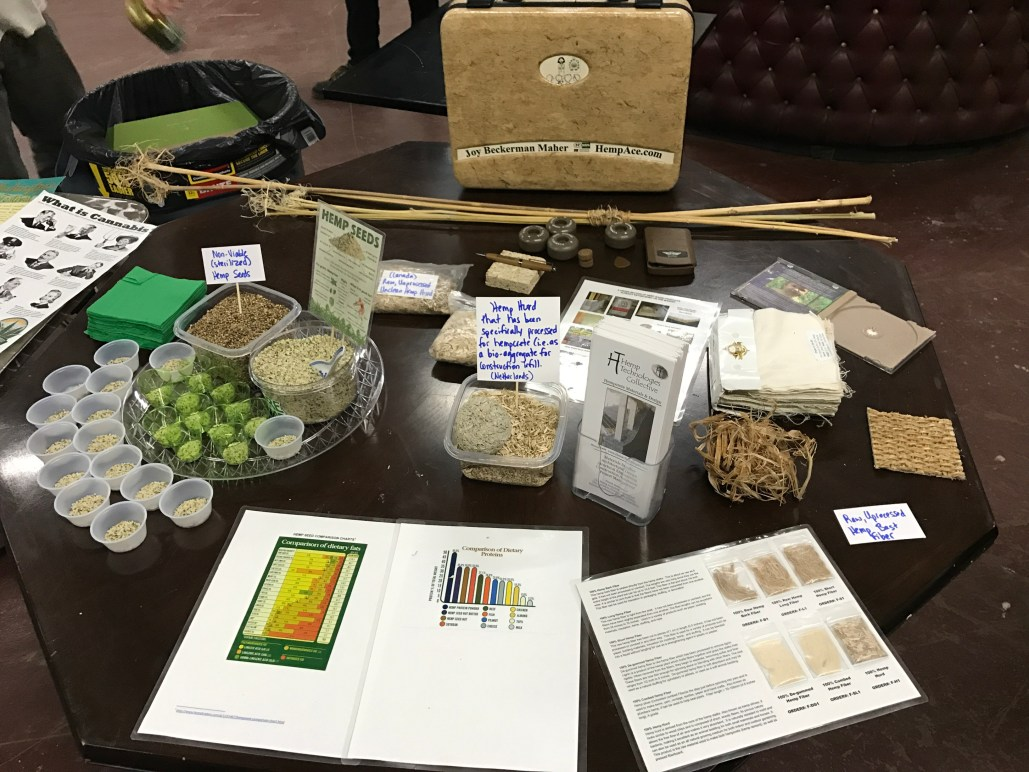Variety of hemp products at the industrial hemp networking event in Yakima on Mar. 4th, 2017