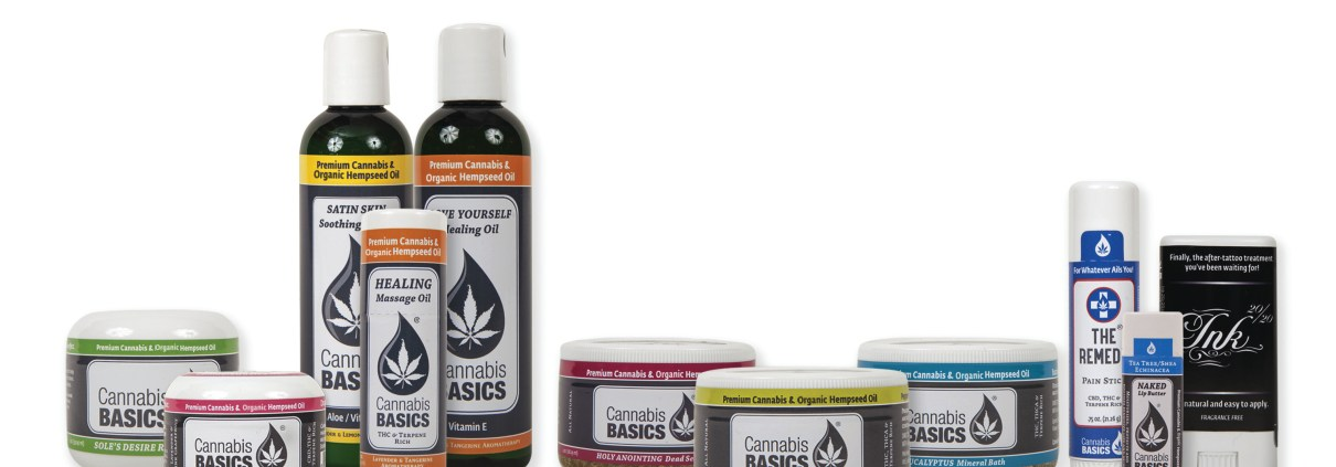 The line of CHABA topical products from Cannabis Basics