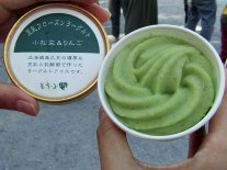 Only in Japan: Komatsuna (Japanese mustard greens) and apple frozen yogurt. Odd, but tasty!