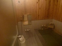 The shared bath at Turtle Inn. This was the smaller of two baths available for use.