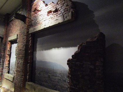 The rubble of the city is recreated inside the Peace Memorial Museum, approximating the feeling of life in Hiroshima in the days after the bombing.