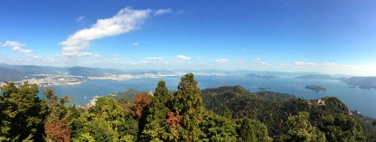 The view of Hiroshima Bay and the surrounding islands from the Mt. Misen Observatory