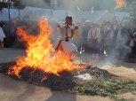 Monks run through the flames during Miyajima's Firewalking Ceremony