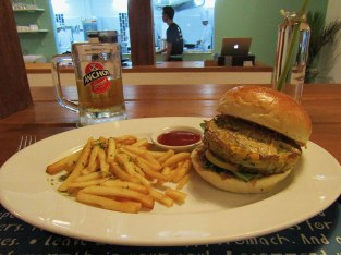 The Pumpkin Veggie Burger at HAVEN Training Restaurant.