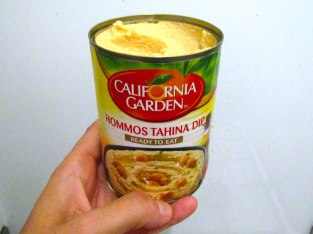 Hummus in a can, it's what's for dinner. It was surprisingly good for $1 canned hummus.