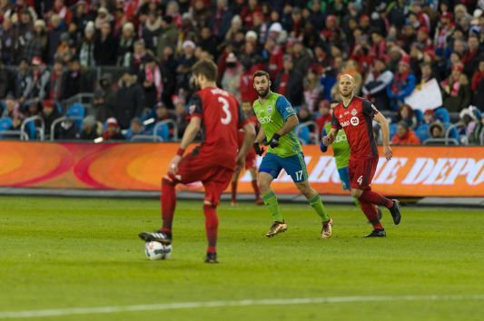 Toronto FC defender Drew Moor settles the ball. ( SoundersFC)