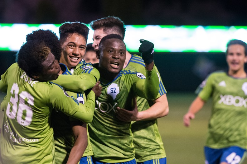Sounders  FC 2 Felix Chenkam celebrates goal with teammates