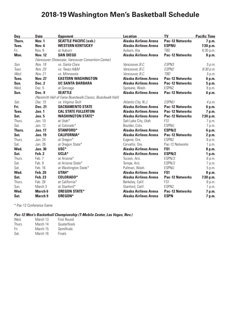 Washington Huskies Men's Basketball 2018-19 Schedule