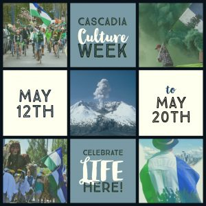 A tableau of pictures of people in nature frame a plume of smoke erupting from Mount St. Helens . Introducing Cascadia Culture Week 2018