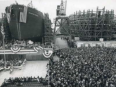 S.S. Star of Oregon is still in a dry dock at it's innauguration.