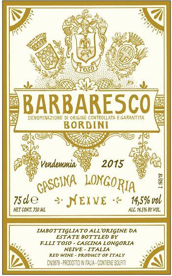 Etichetta Barbaresco Bordini 2015 Produttori di vino a Neive