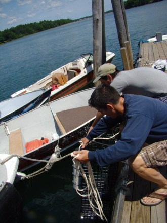 Continuous Monitoring Station being pulled from the water