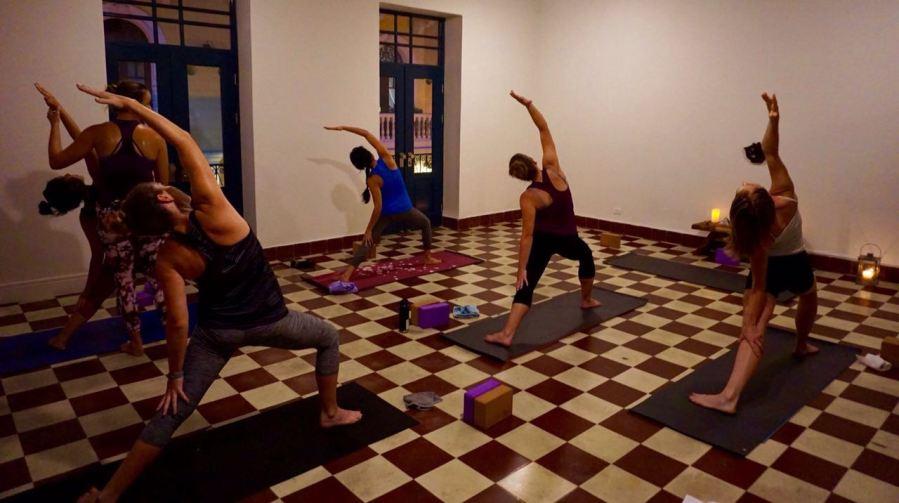 Hot Vinyasa Yoga class at Casco Yoga in Casco Viejo, Panama