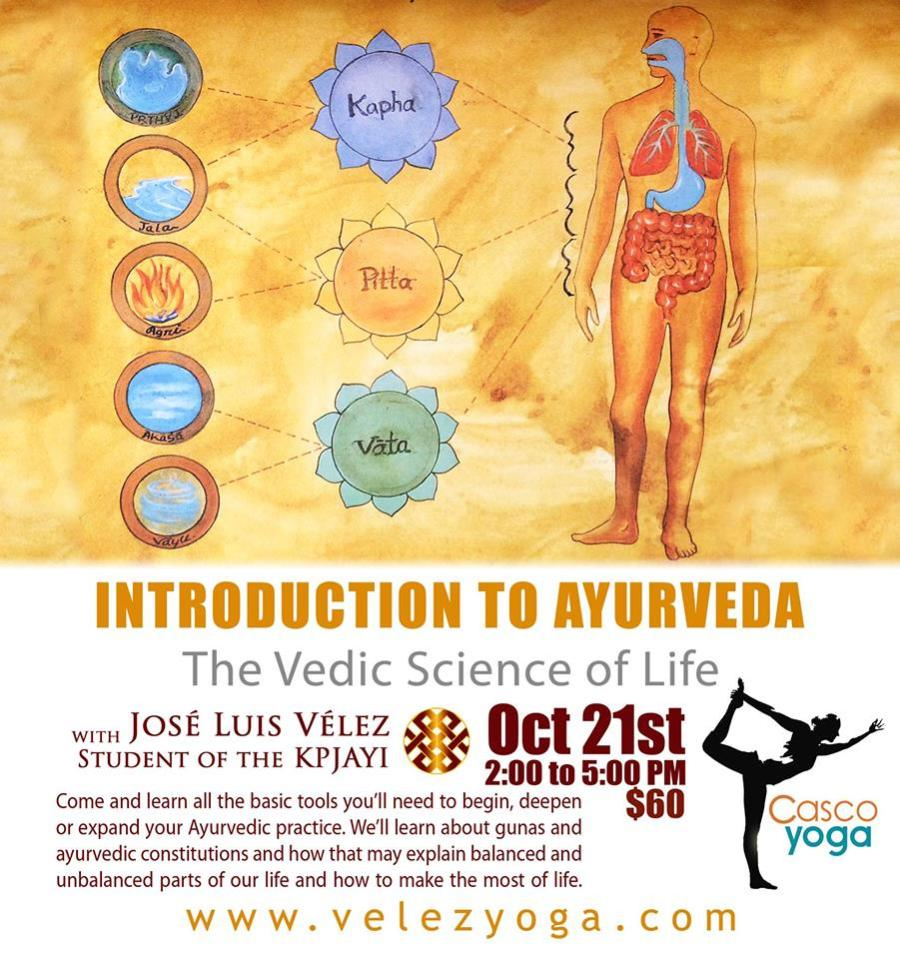 Introduction to Ayuerveda: The Vedic Sciende of Life.At Casco Yoga Panama with Jose Luis Velez on October 21st Saturday Workshop 2017. Casco Viejo, Panama