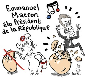 Drawing Macron by Plantu