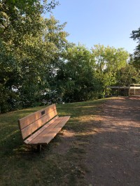 Park bench dedicated to Robert P Weeks