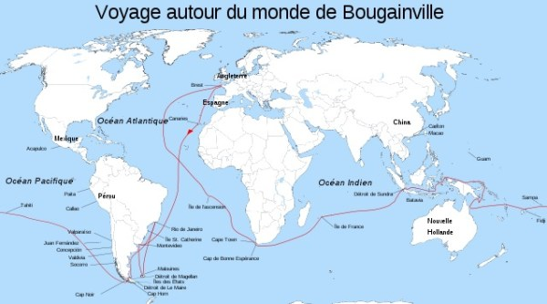 Map of Bougainville's Voyage