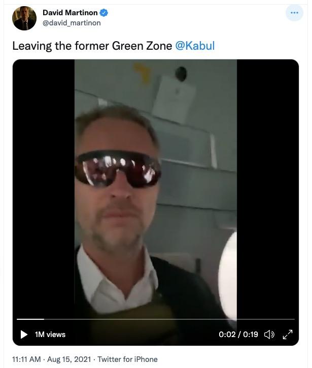 Martinon tweet leaving Green Zone