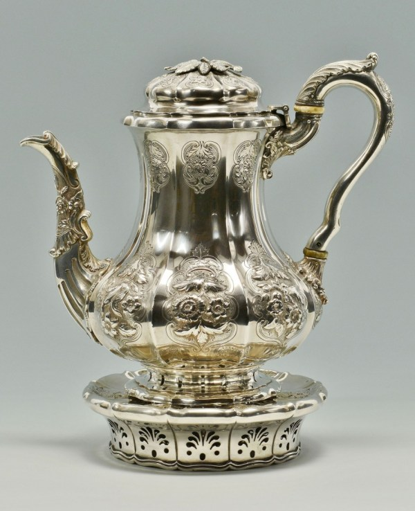 Lot 89 Heavy Coin Silver Teapot With Warming Stand
