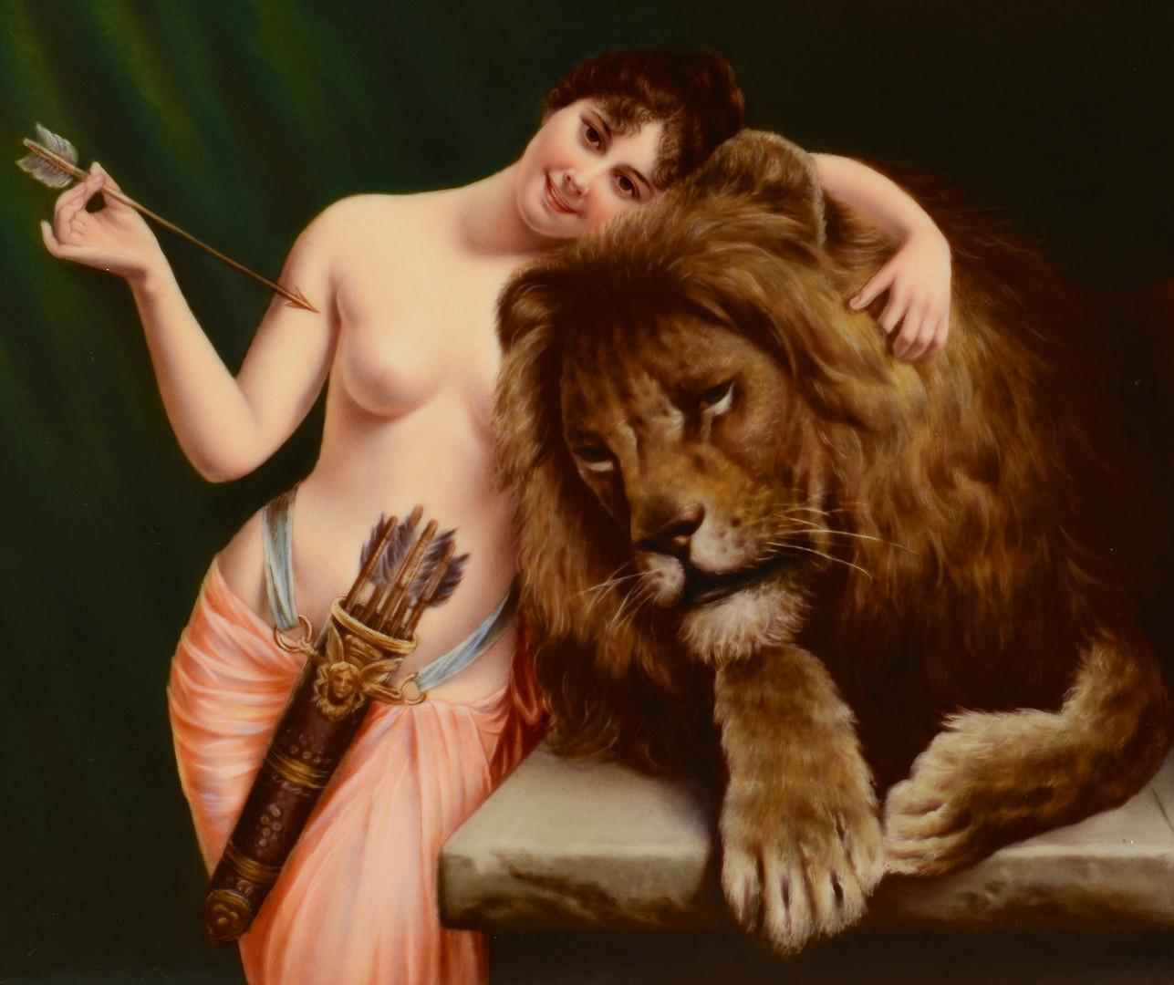 Lot 59 Porcelain Plaque Woman w Lion