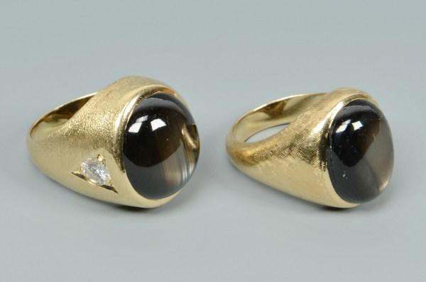 Lot 496 2 Gents 14k Black Star Sapphire Rings