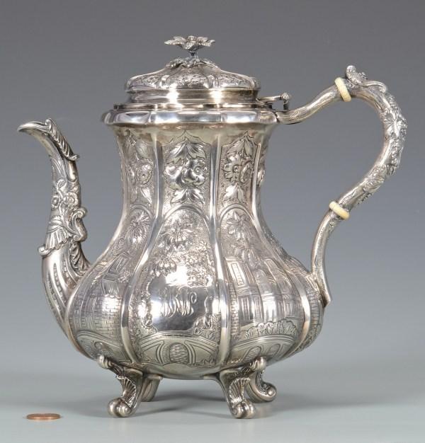 Lot 321 Coin Silver Teapot Architectural Decoration