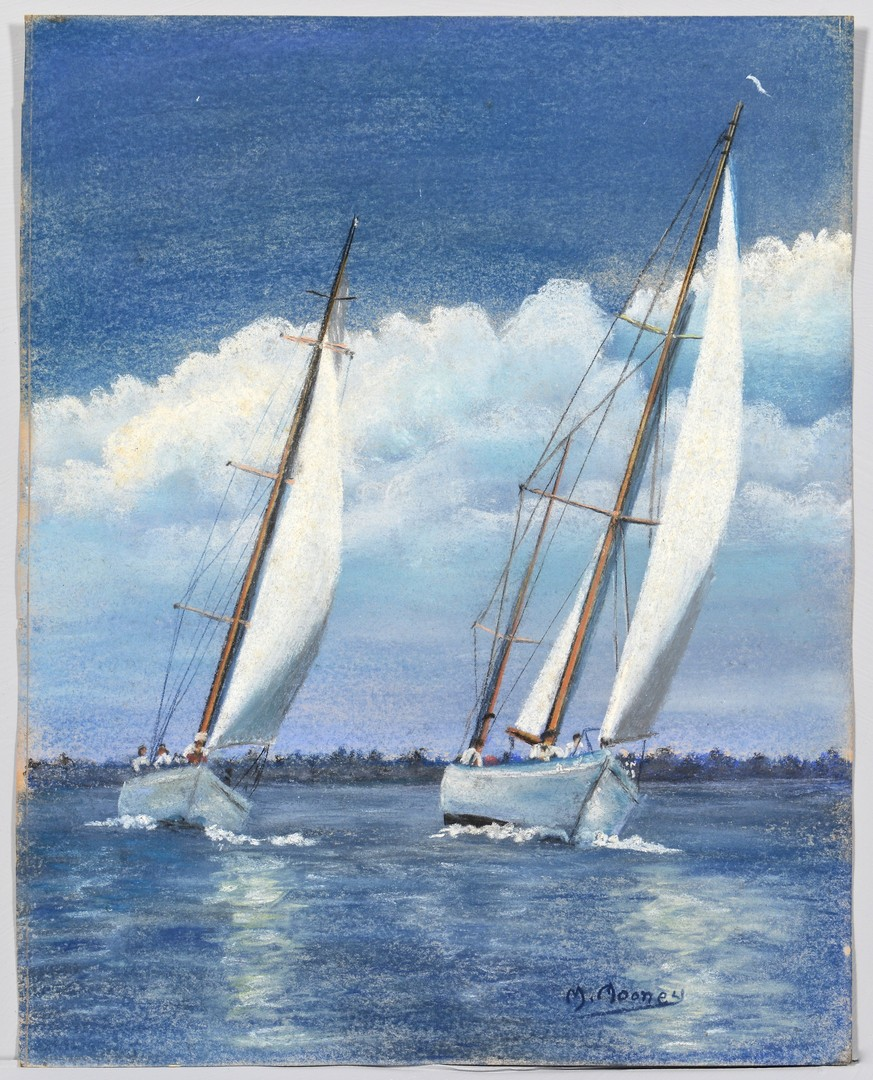 Lot 759 2 Sailboat Themed Pastel Paintings