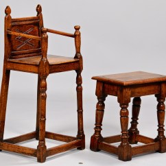 Small High Chair Wicker Chairs New Zealand Lot 317 English Jacobean And Table Stool