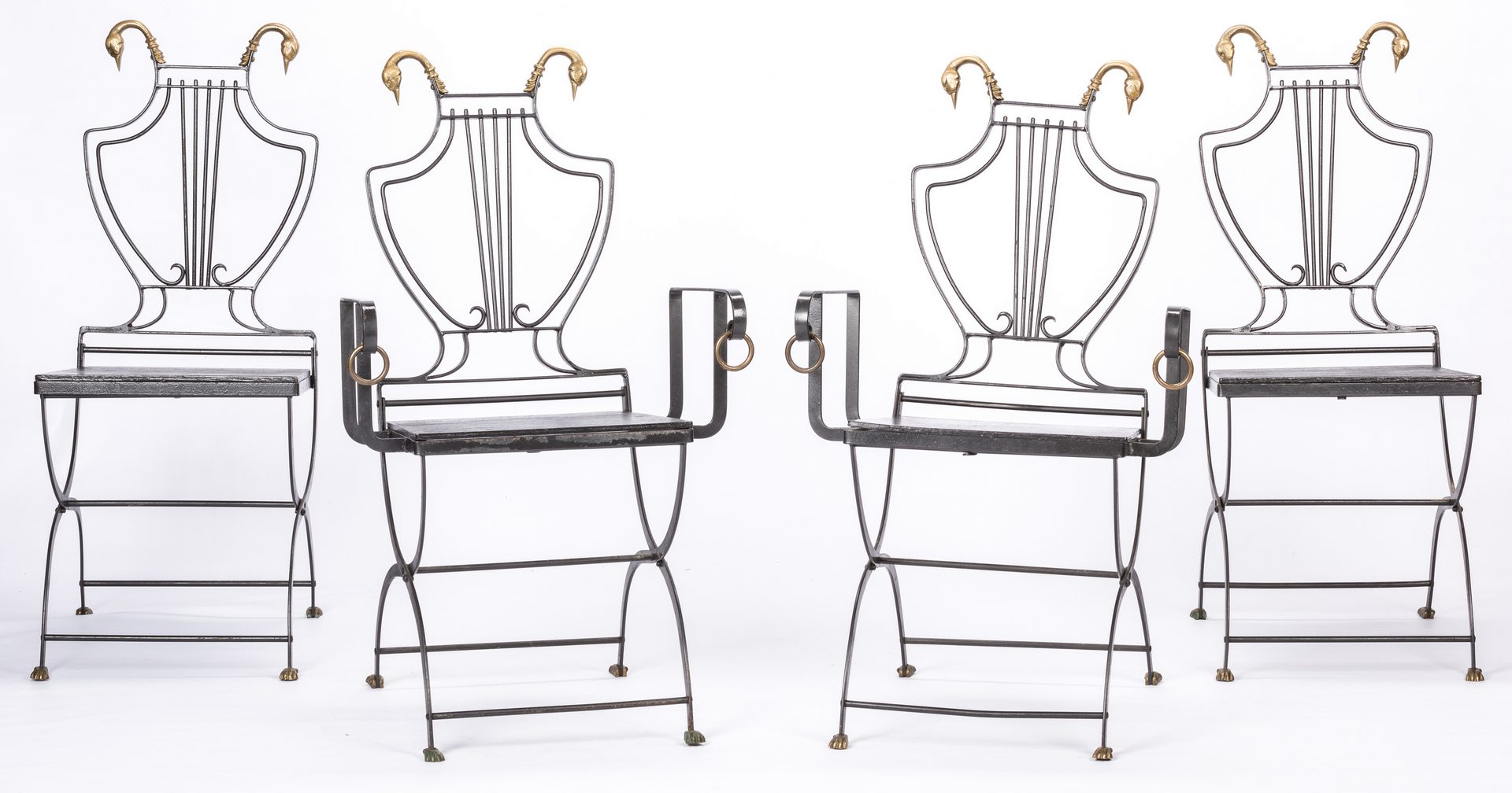 Lot 622 4 Iron Chairs With Brass Swan Heads