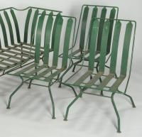 Lot 589: French Art Deco Patio Furniture: settee & 3 chairs